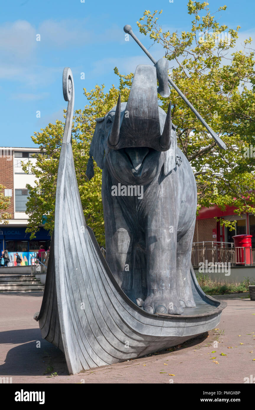 The Enthusiastic Elephant statue in Kirkby town centre. Edward Lear limerick - Stock Image