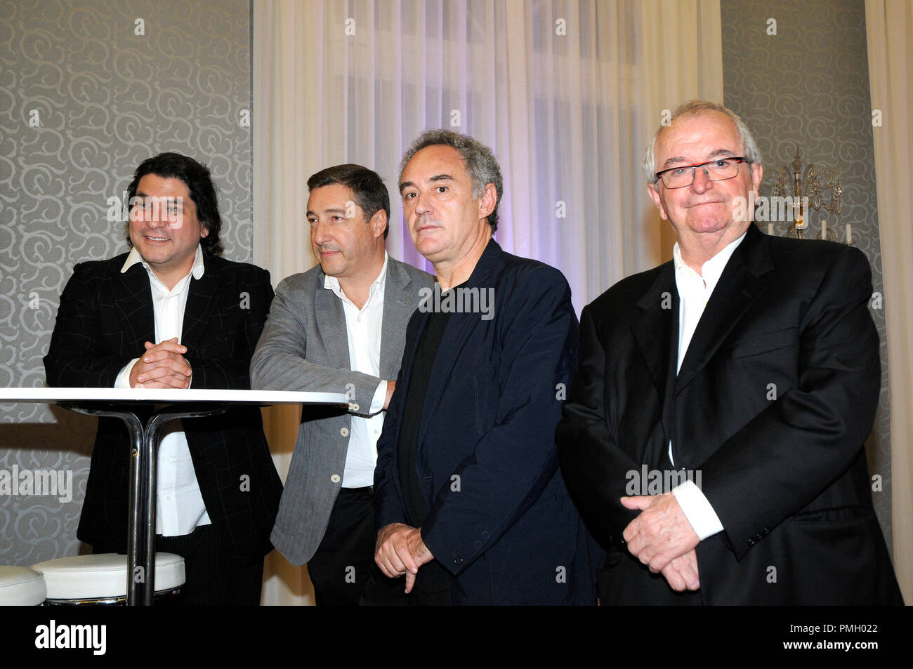the chefs Ferran Adrià, Gastón Acurio, Juan Mari Arzak and Joan Roca after the presentation for the first time in Spain of the documentary 'Peru Knows - Stock Image