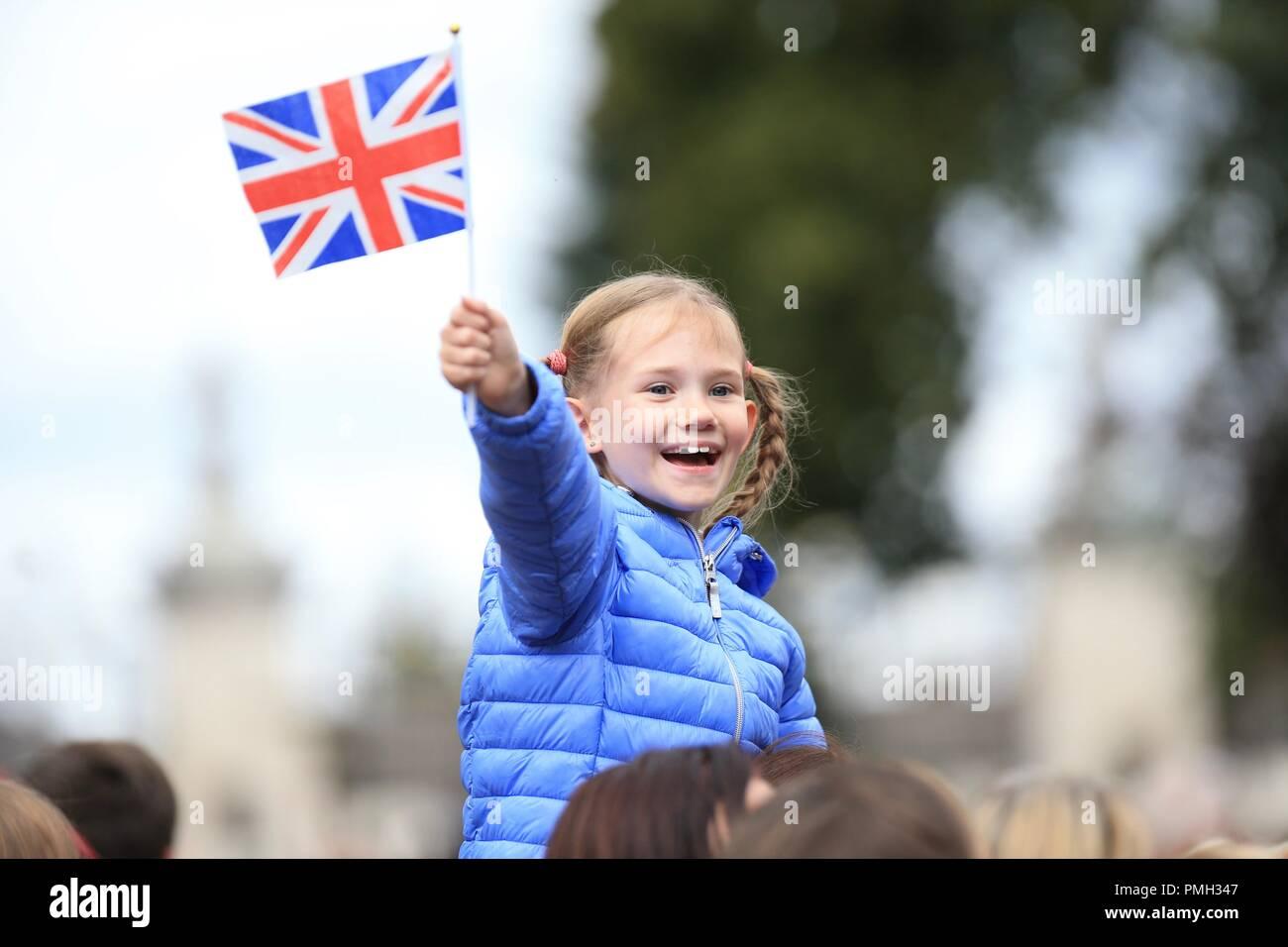 Little girl waving a Union Jack flag UK - Stock Image