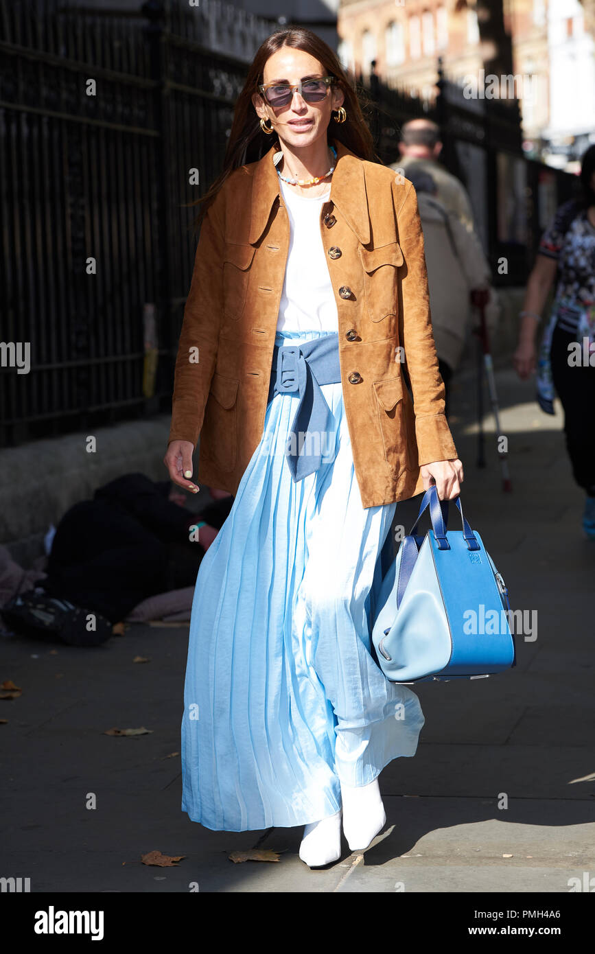 London, UK. 16th September 2018, Street Style, Spring Summer 2019, London Fashion Week, UK Loulou De Saison Credit: Saira MacLeod/Alamy Live News - Stock Image