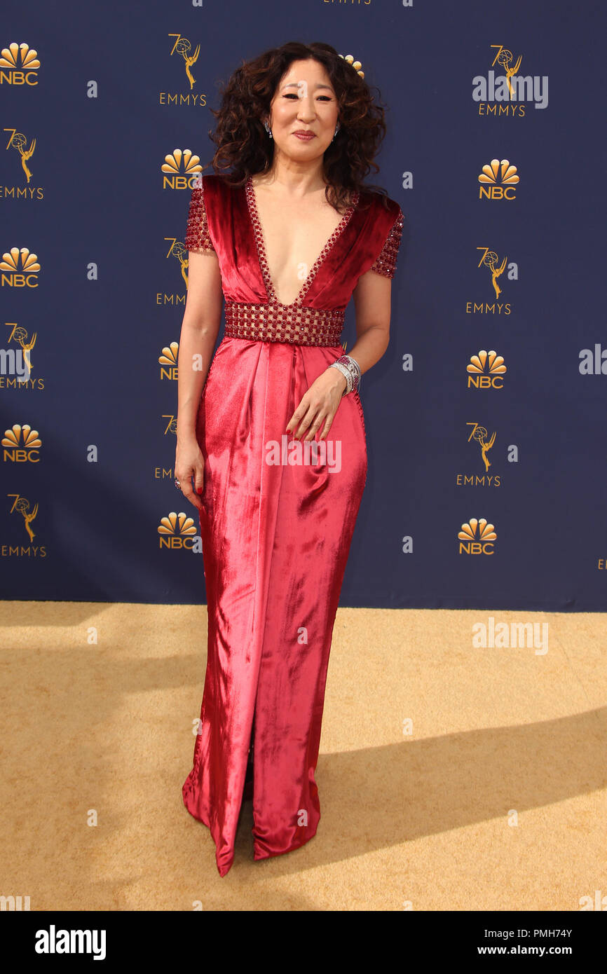 September 17, 2018 - Los Angeles, California, U.S. - 17 September 2018 - Los Angles, California - Sandra Oh. 70th Primetime Emmy Awards held at Microsoft Theater L.A. LIVE. Photo Credit: Faye Sadou/AdMedia (Credit Image: © Faye Sadou/AdMedia via ZUMA Wire) Stock Photo