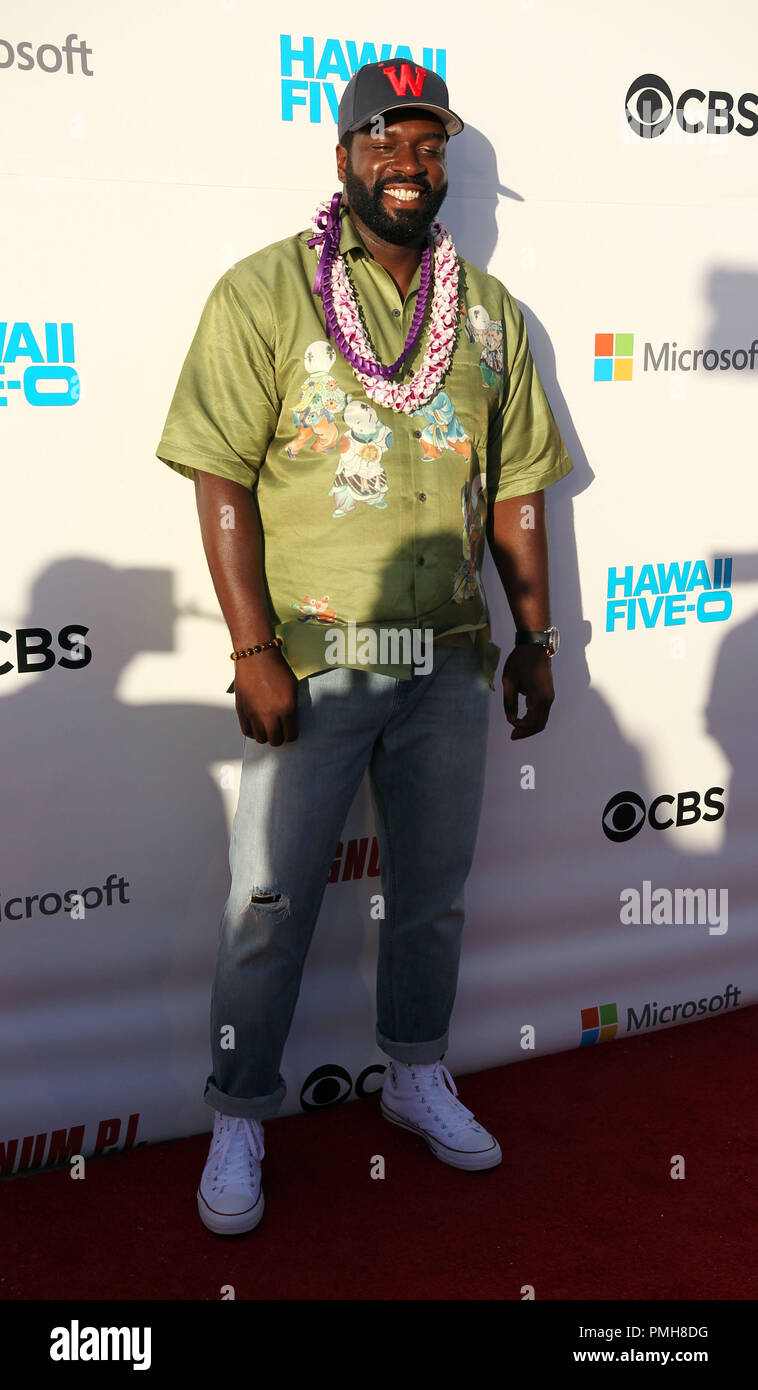 September 16, 2018 - Stephen Hill, the new Theodore ''T.C.'' Calvin, on the red carpet during the Hawaii Five-O and Magnum P.I. Sunset On The Beach event on Waikiki Beach in Honolulu, Hawaii - Michael Sullivan/CSM - Stock Image