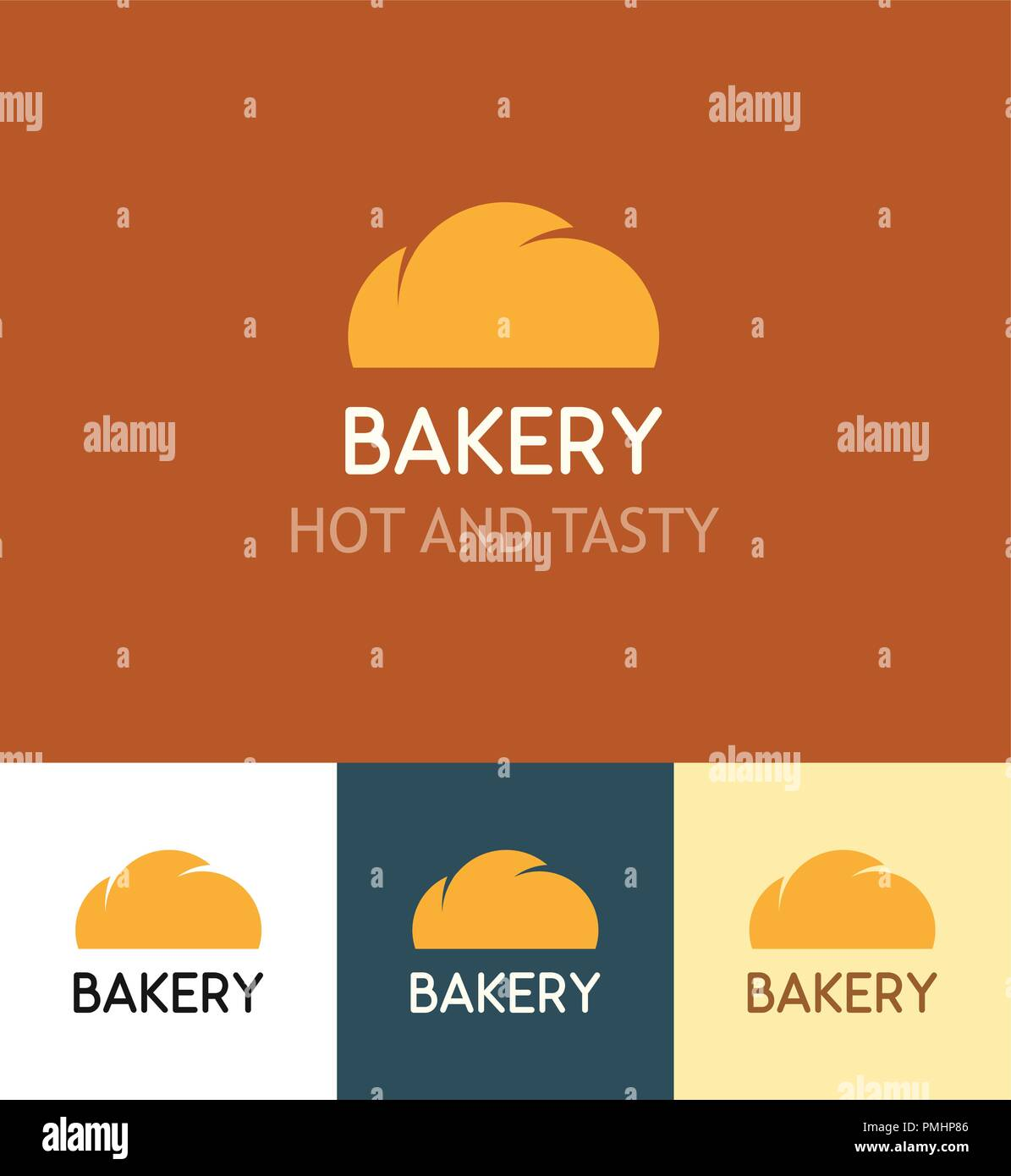 Set of Logotypes for Bakery on different backgrounds. Emblem with Bun isolated on orange, white and dark background. Vector insignia illustration with - Stock Vector