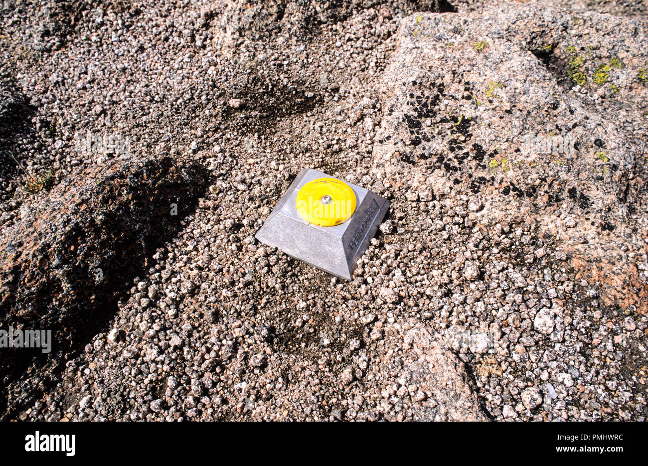 Stud for Stabilising Footpaths, NR Aviemore, Mt Cairngorm, Cairngorm Mountain Range, Highlands, Scotland, UK, GB. - Stock Image