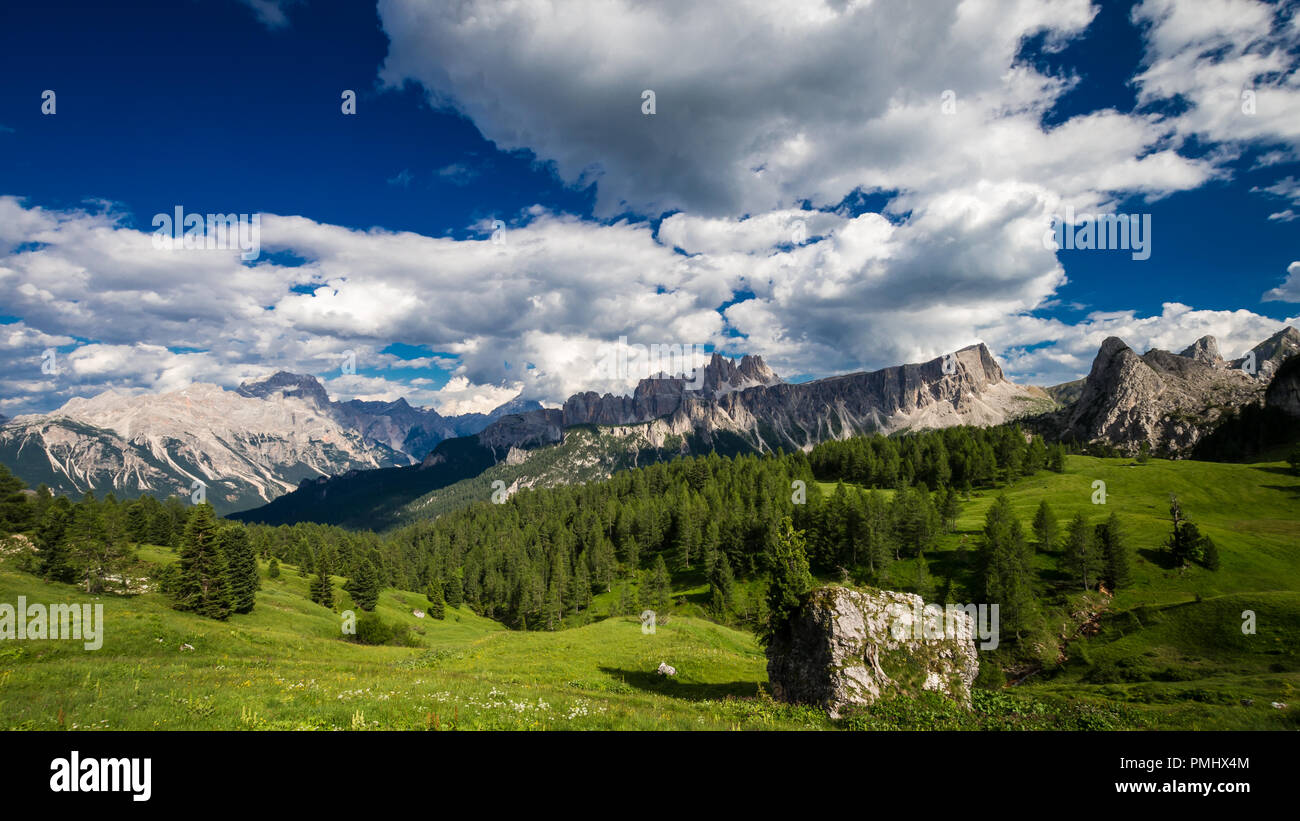 Dolomites mountains, North Italy. Scenic view in Dolomiti, Alto Adige, South Tyrol - Stock Image