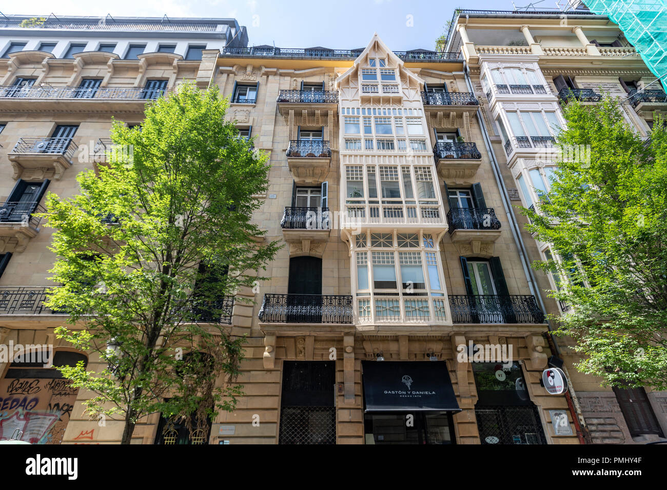 Apartment building in Prim Kalea, Donostia, Basque Country, Spain - Stock Image