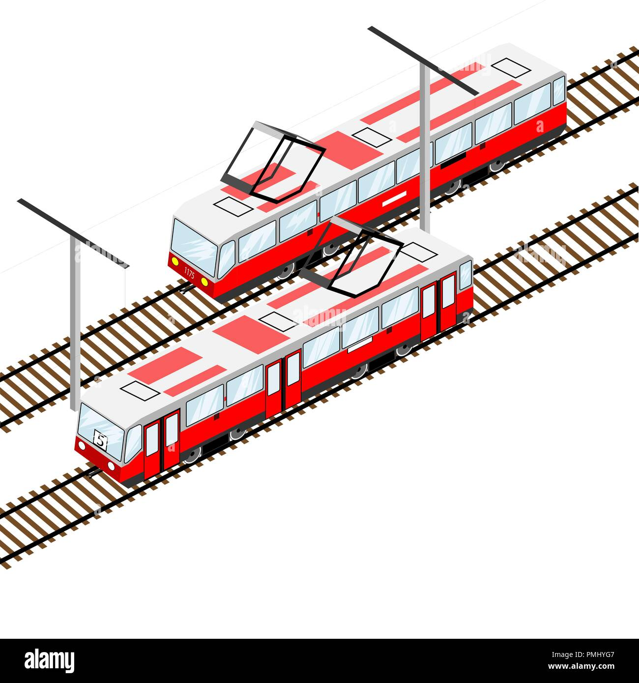 city trams in isometric view - Stock Image
