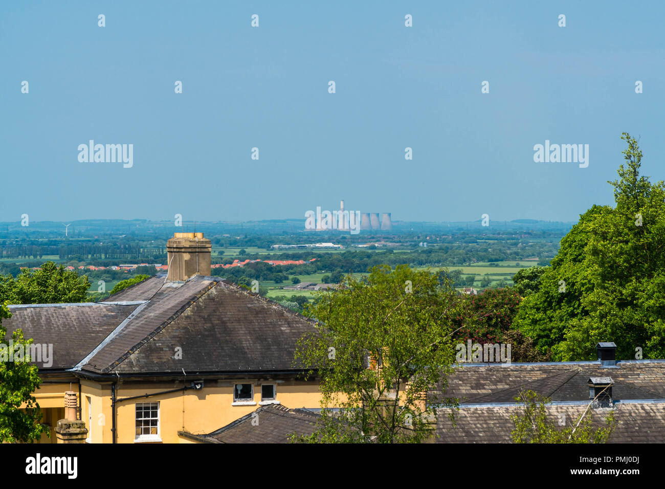 Cottam Power Station as seen from the castle wall, Lincoln Lincolnshire UK May 2018. - Stock Image