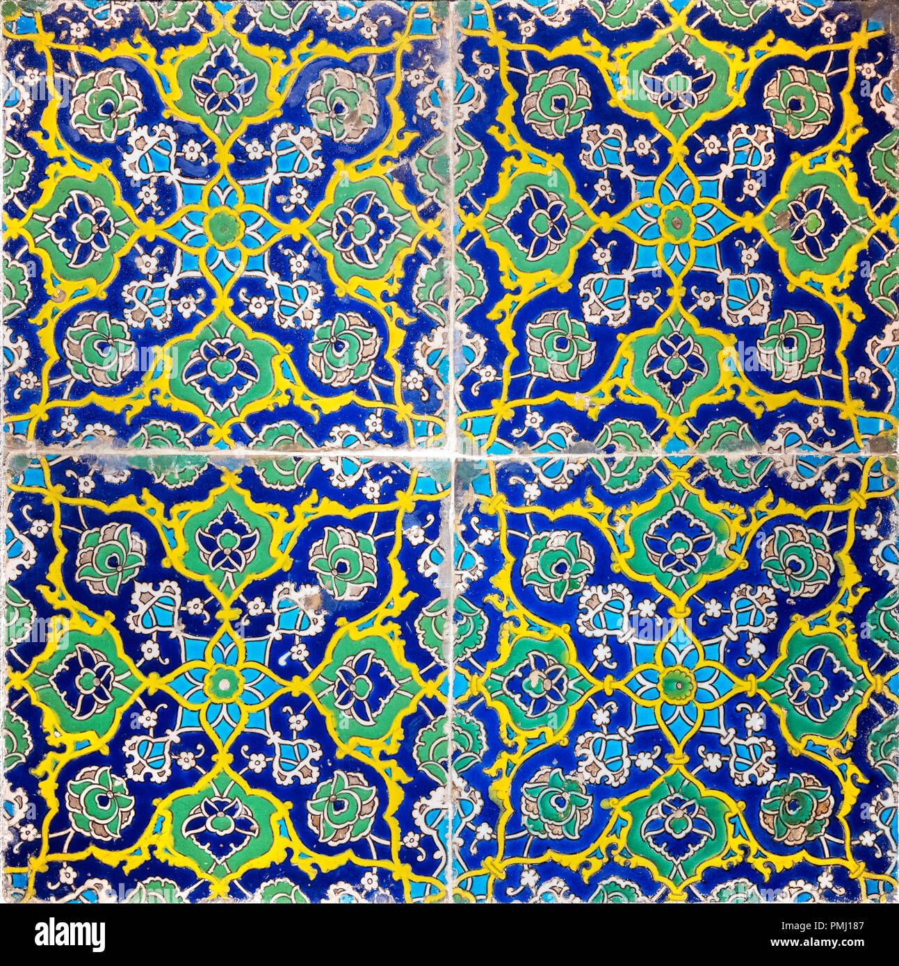Early 16th Century Turkish wall tiles, Ottoman period, decorated in 'cuerda seca' technique. - Stock Image