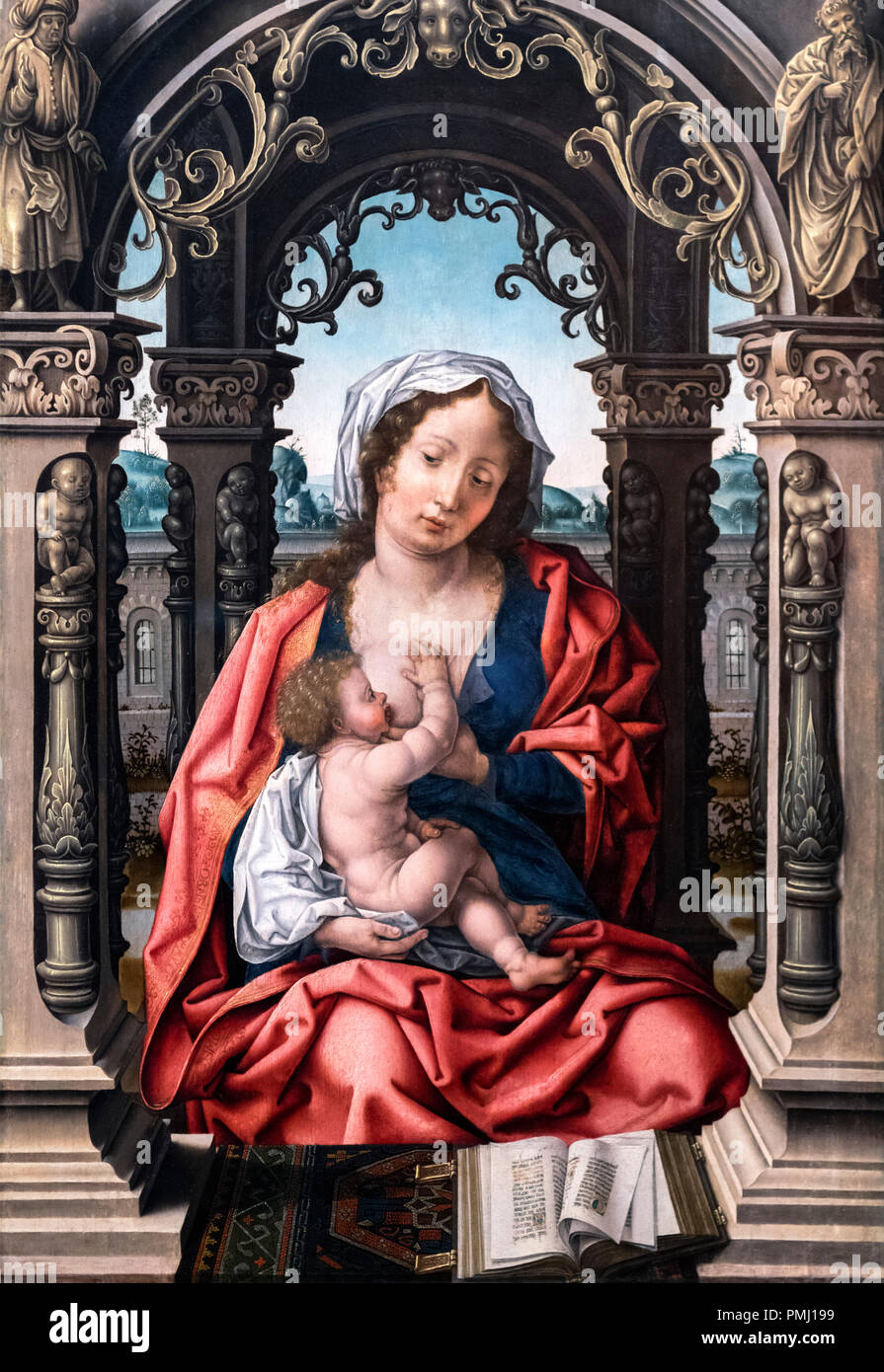 Vigin and Child by the circle of Jan Gossaert (1478-1532), oil on wood, c.1508-10 - Stock Image