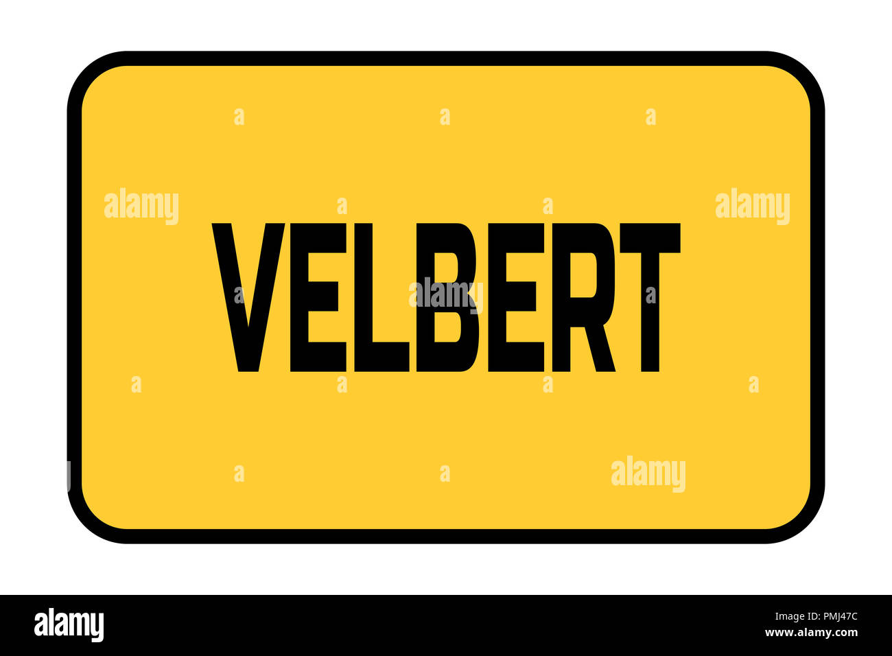 City entrance road sign with caption City Velbert - Stock Image