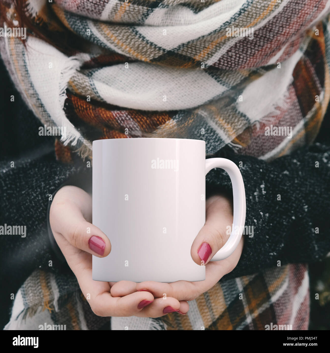 Winter Mug Mock Up White Blank Coffee Mug To Add Custom Design Or Quote Perfect For Businesses Selling Mugs Just Overlay Your Quote Or Design On To Stock Photo Alamy