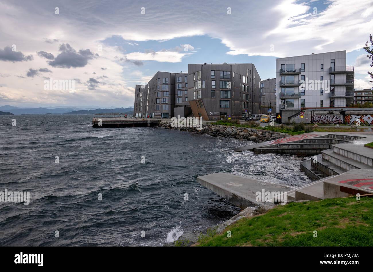 Innovation Dock on the very exposed edge of Stavanger. Close to the art centre Tou Scene. Used to host events, conferences, workshops and offices. - Stock Image