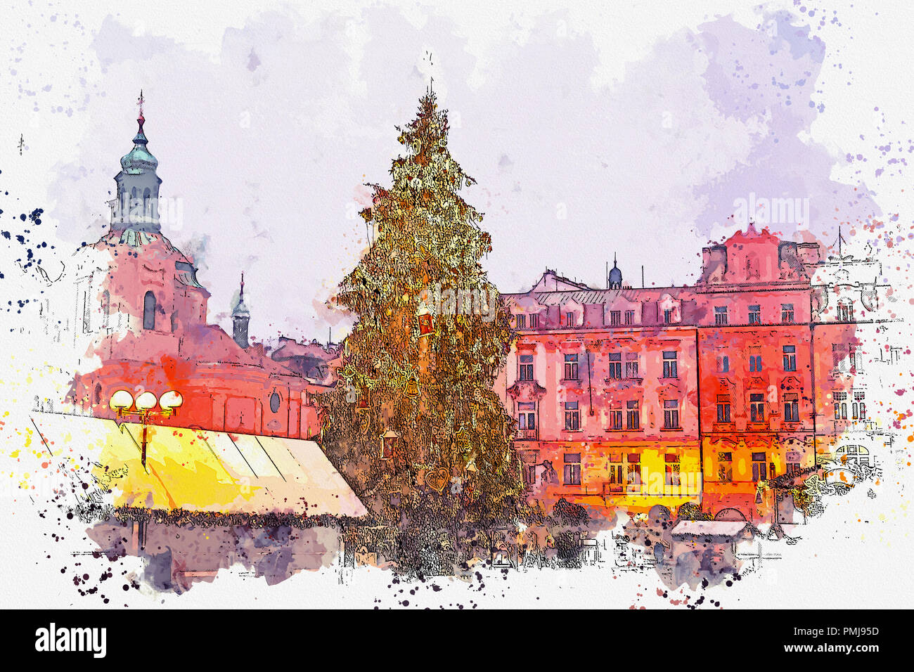 decorated christmas tree stands on the main square in prague during the new year holidays - Decorative Christmas Tree Stands