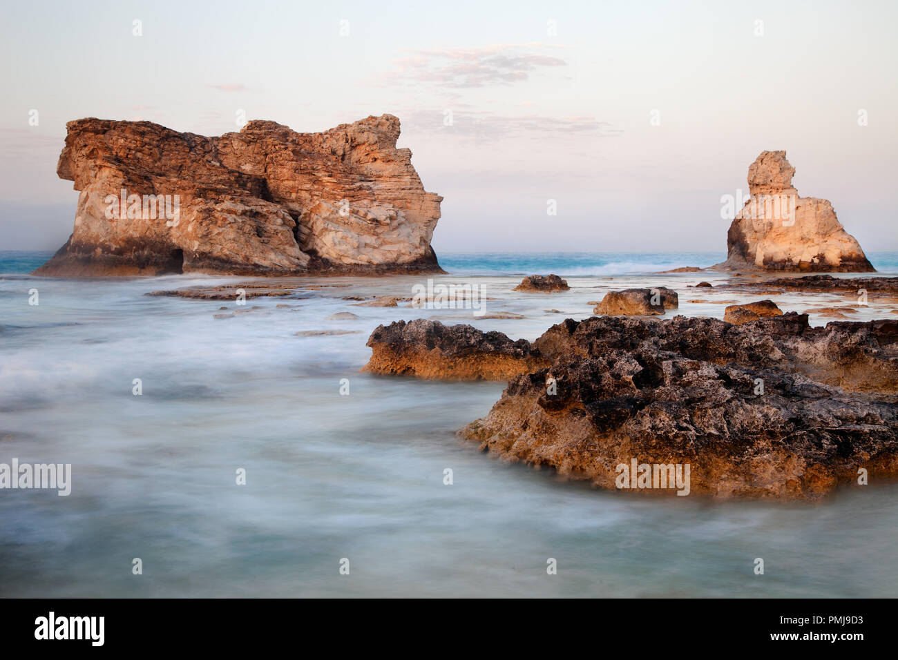 Nice view of sea landscape and Cleopatra's beach famous rocks near Marsa Matruh in Egypt - Stock Image
