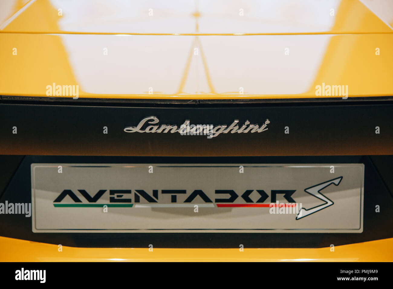 Berlin, August 29, 2018: Close-up of the emblem of Lamborghini Aventador S. Official Auto Show Drive - Volkswagen Group Forum in Berlin - Stock Image