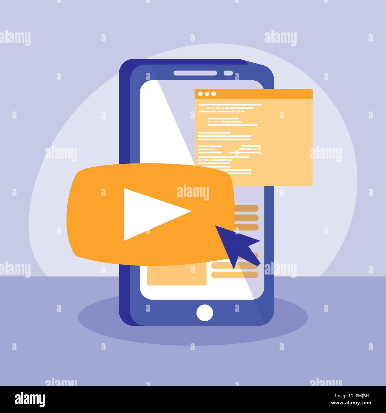 smartphone with webpage templates vector illustration design - Stock Image