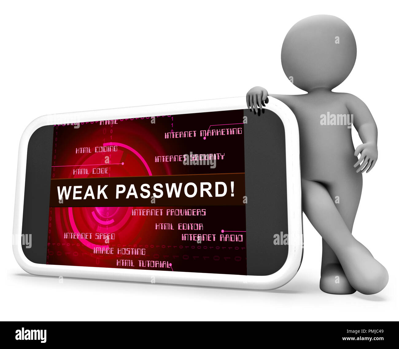Password Weak Hacker Intrusion Threat 3d Rendering Shows Cybercrime Through Username Vulnerability And Compromised Computer - Stock Image