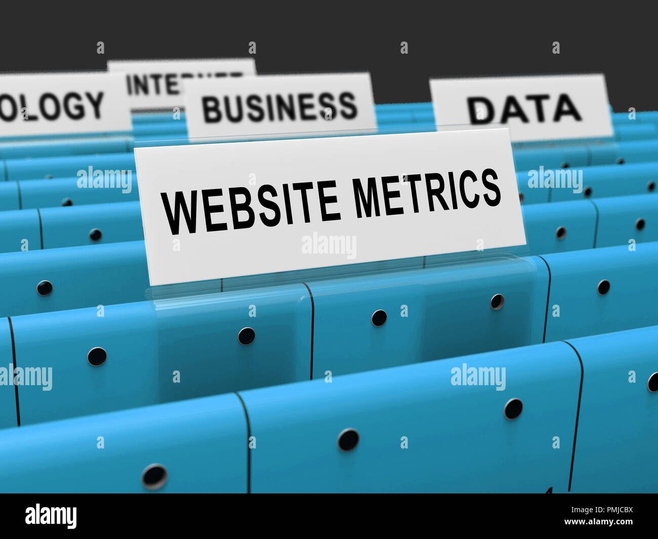 Website Metrics Business Site Analytics 3d Rendering Shows Analytic Forecasts Or Trends For Data Evaluation - Stock Image