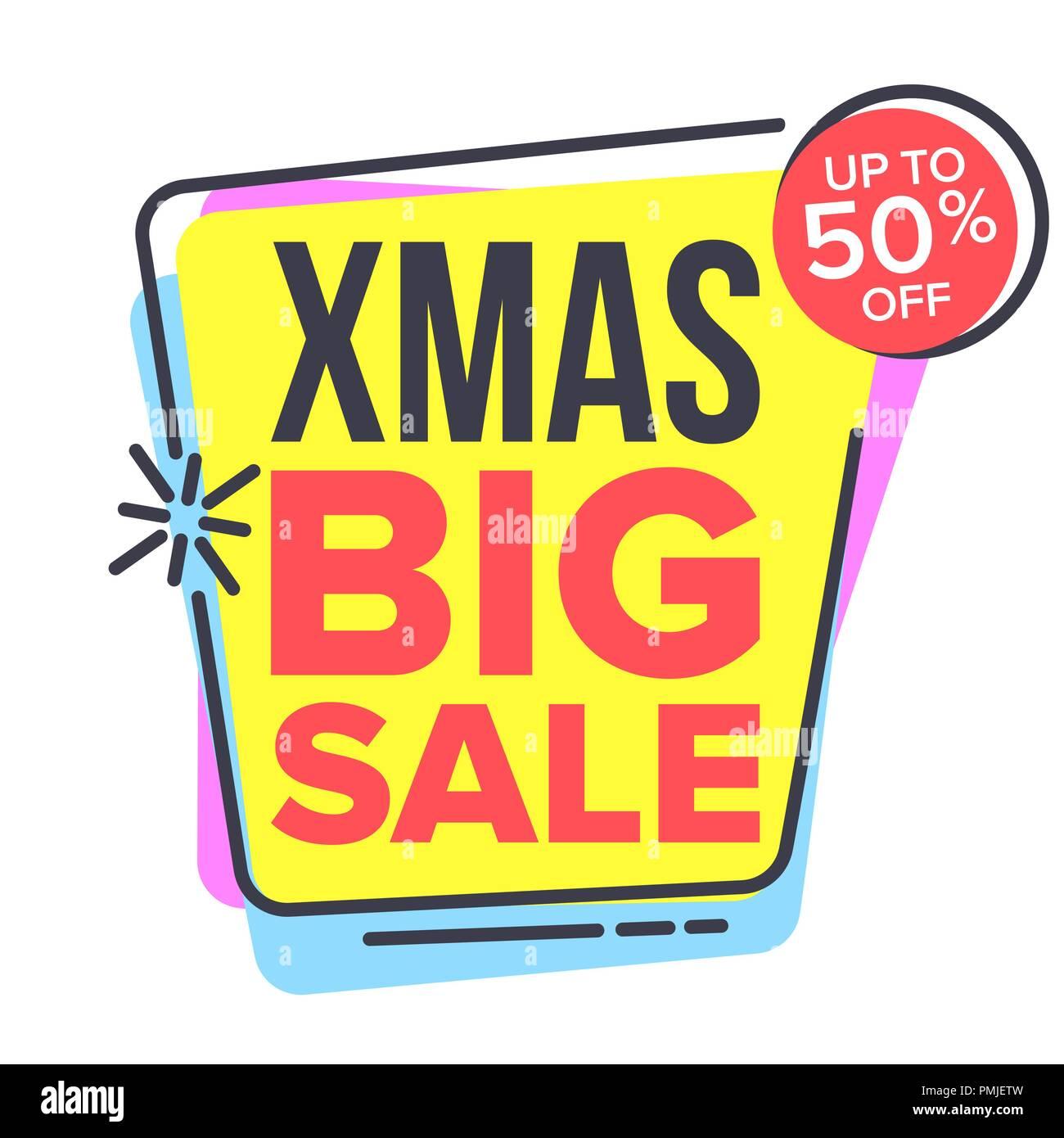 christmas big sale sticker vector spring bright design promo icon