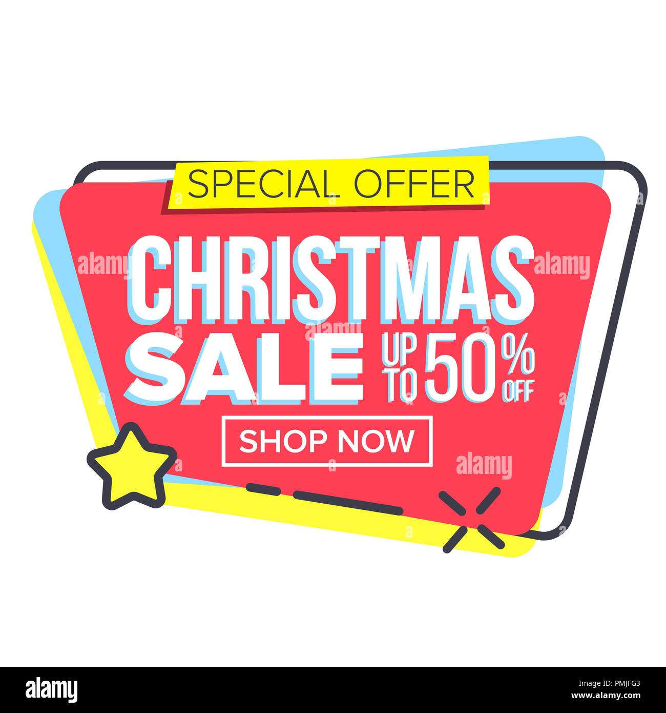 christmas big sale sticker vector template brochure special offer