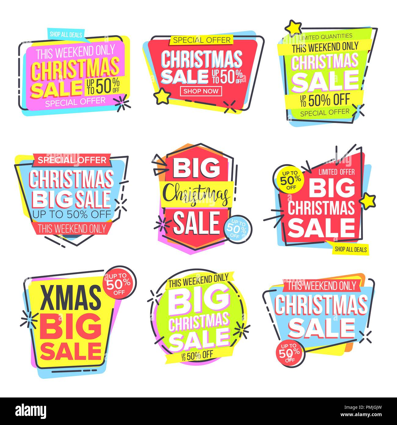 christmas big sale sticker set vector template for advertising