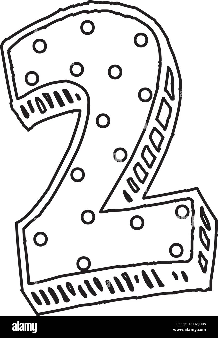 number two icon over white background, vector illustration - Stock Image