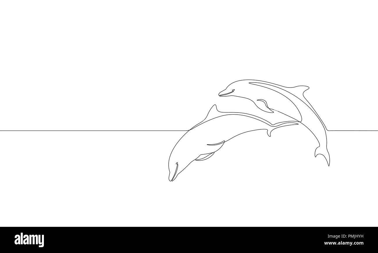 Black And White Dolphin Drawing Stock Photos & Black And White