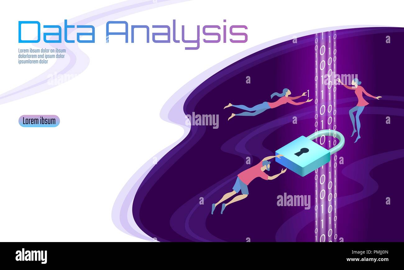 Secure data analysis processing business concept. Personal information safety isometric cartoon padlock binary code flow. People man work problem solving. Web banner background vector illustration - Stock Image