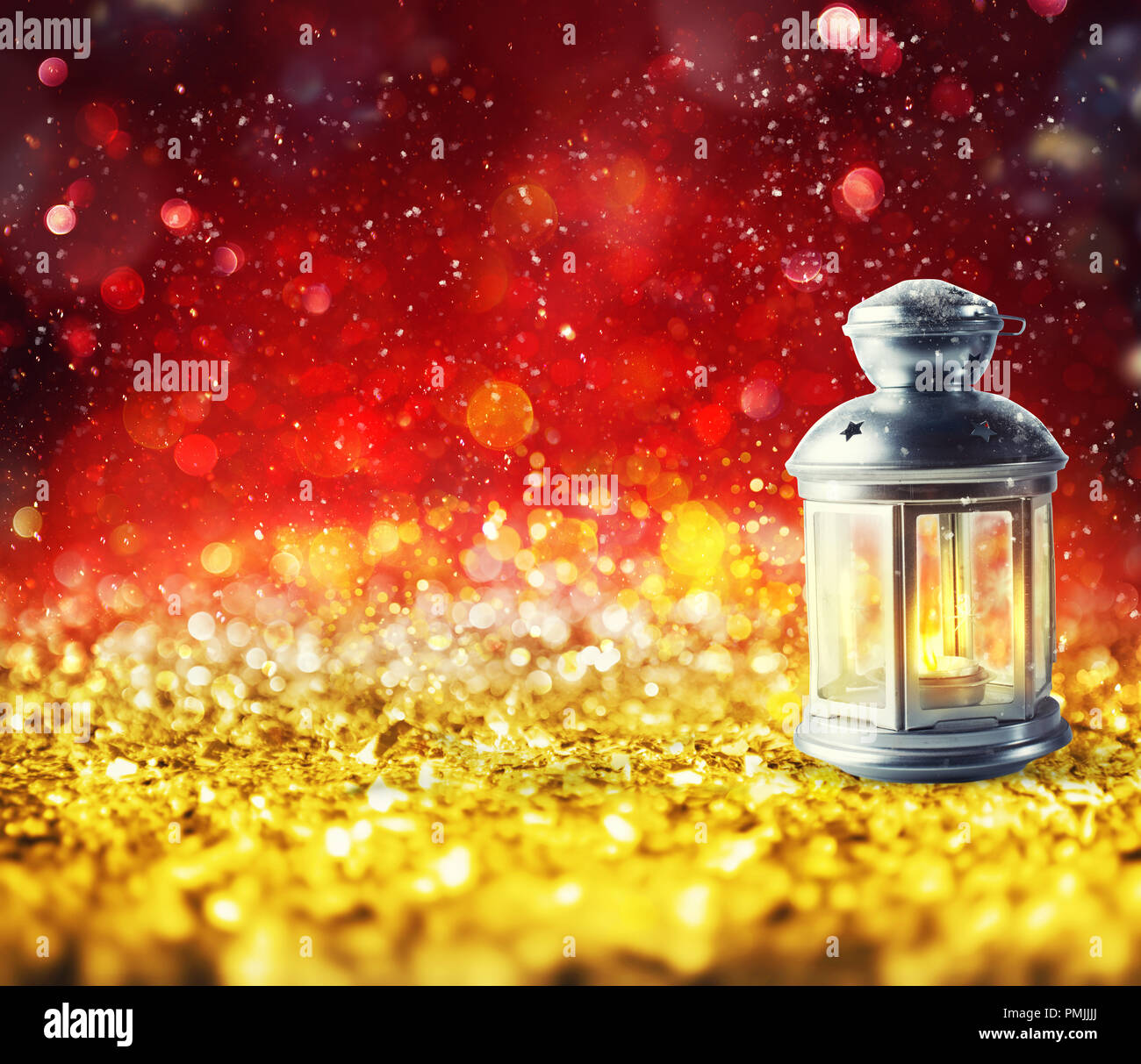 Shiny lantern on a Christmas sparkle background - Stock Image