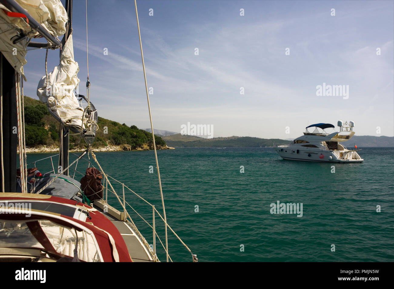 At anchor in the bay of Agios Stefanos, Corfu, Greece - Stock Image