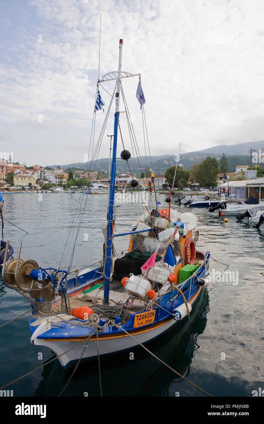 Local fishing boat in Kassiopi harbour, Corfu, Greece Stock Photo
