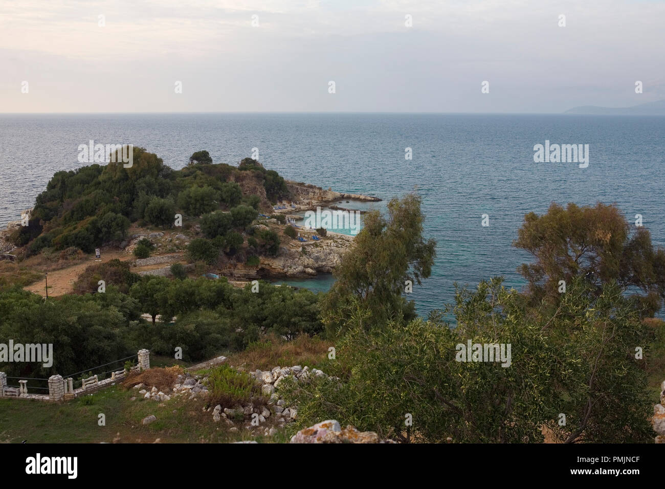 Bataria Beach and Peninsula from the Castle, Kassiopi, Corfu, Greece Stock Photo