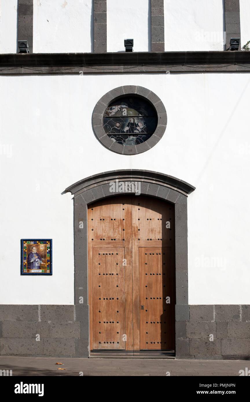 Parish Church of San Roque - town church was built in 1502 in Firgas town, Gran Canaria, Spain, Stock Photo