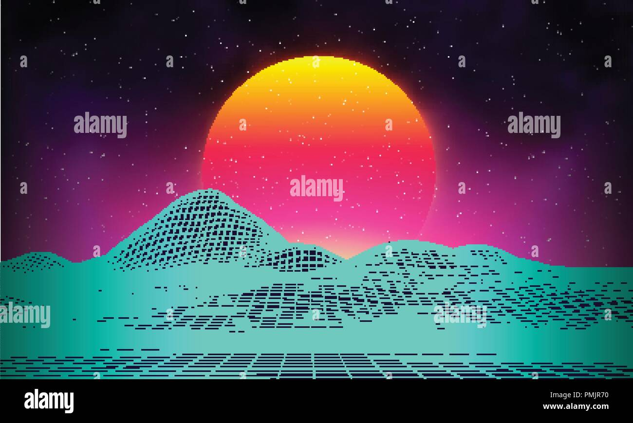 Retro Background Futuristic Landscape 1980s Style Digital Retro