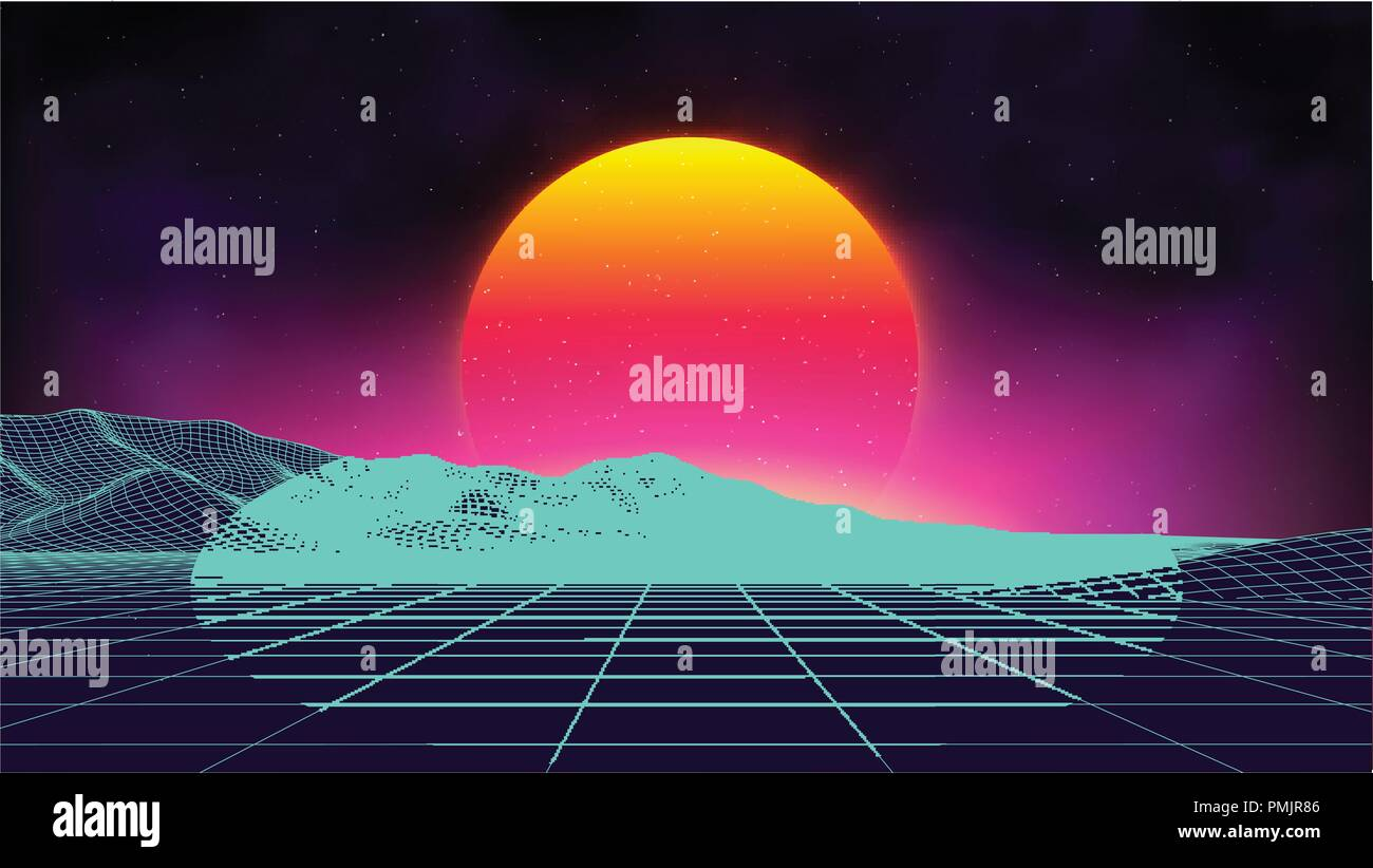 Retro background futuristic landscape 1980s style digital retro retro background futuristic landscape 1980s style digital retro landscape cyber surface retro music album cover template sun space mountains maxwellsz