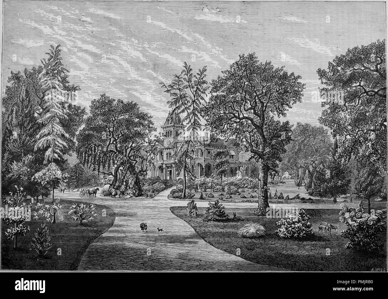 Engraving of the park and pleasure grounds at Oak Knoll, Napa Valley, California, from the book 'The Pacific tourist', 1877. Courtesy Internet Archive. () - Stock Image