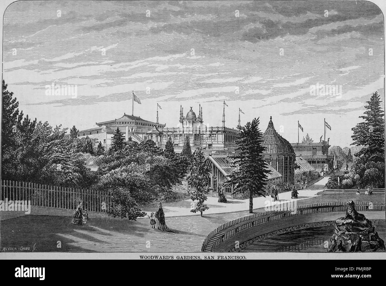 Engraving of the Woodward's Garden in San Francisco, California, from the book 'The Pacific tourist', 1877. Courtesy Internet Archive. () - Stock Image