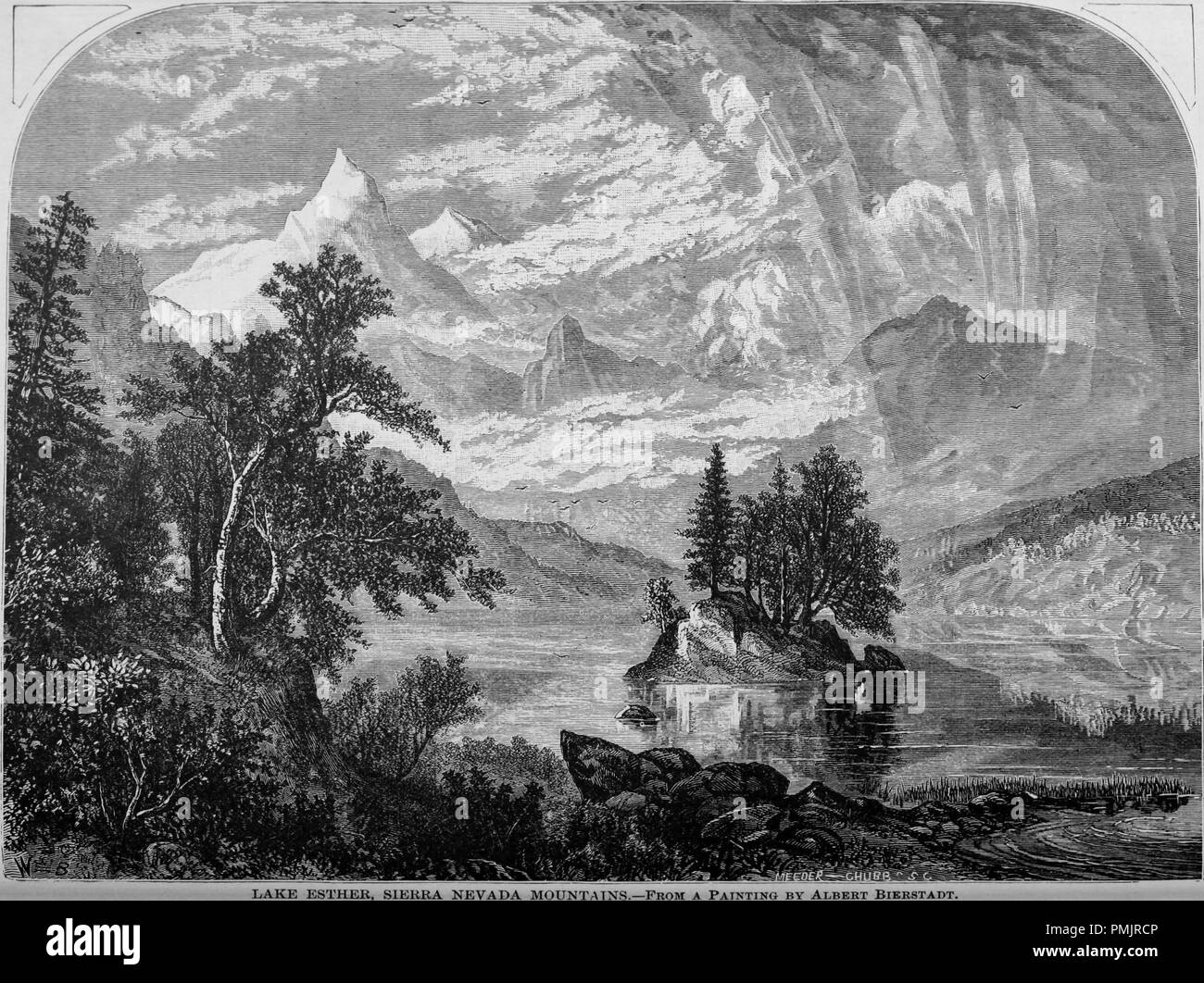 Engraving of the Lake Esther in the Sierra Nevada Mountains, from the book 'The Pacific tourist', 1877. Courtesy Internet Archive. () - Stock Image