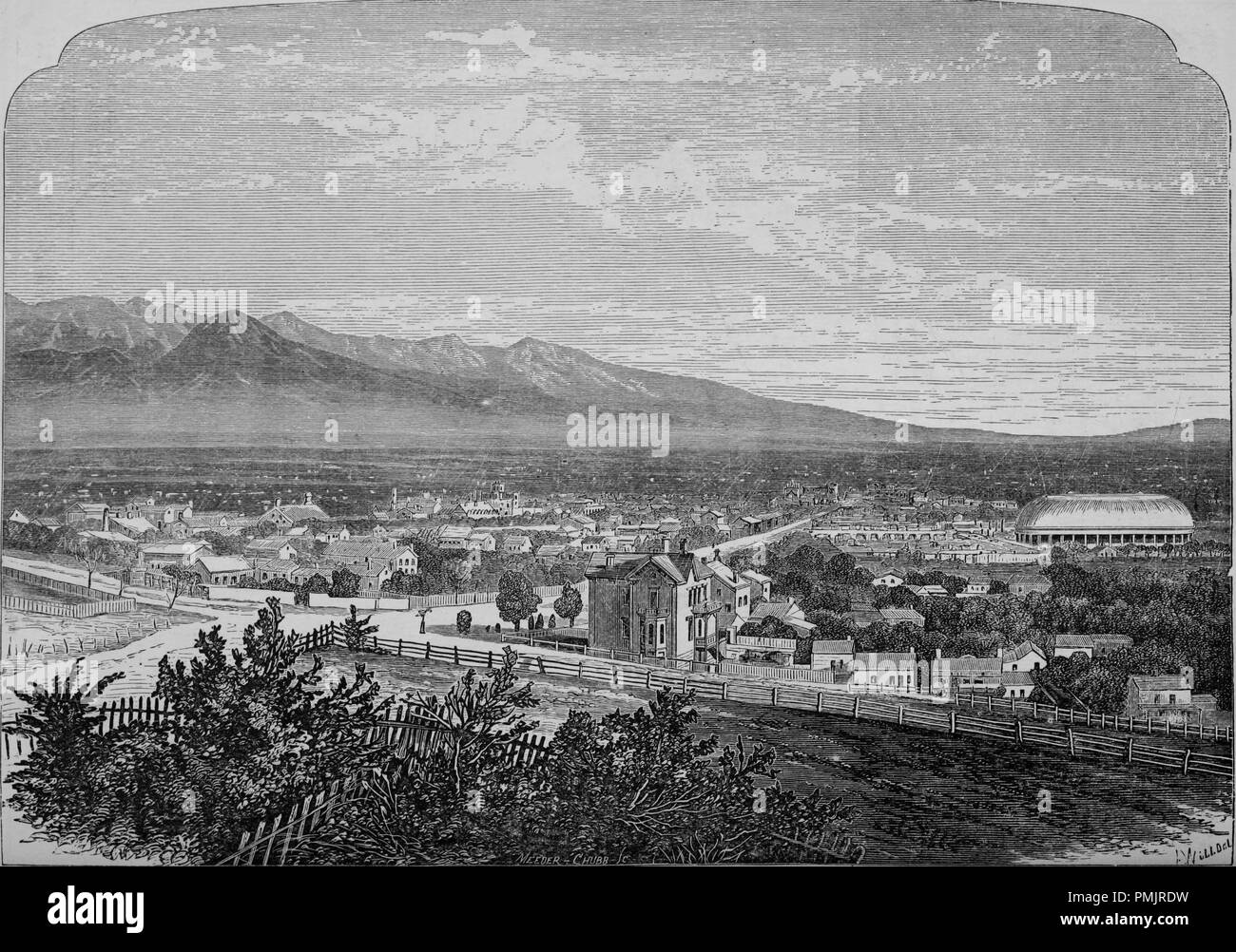 Engraving of the Salt Lake City and the Wahsatch Mountains, Utah, from the book 'The Pacific tourist', 1877. Courtesy Internet Archive. () - Stock Image
