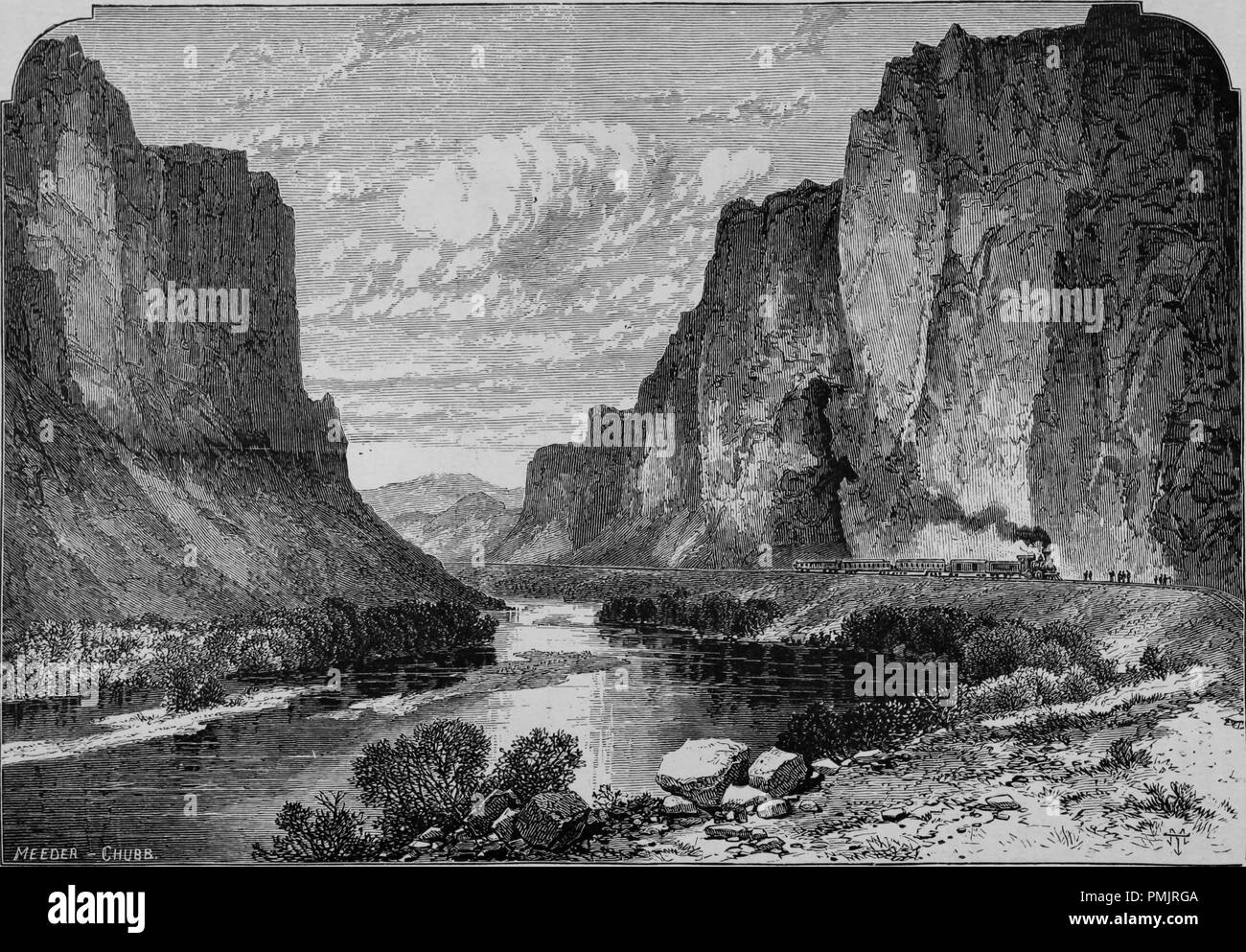 Engraving of the Humboldt River flowing through Palisade Canyon in Nevada, from the book 'The Pacific tourist', 1877. Courtesy Internet Archive. () - Stock Image