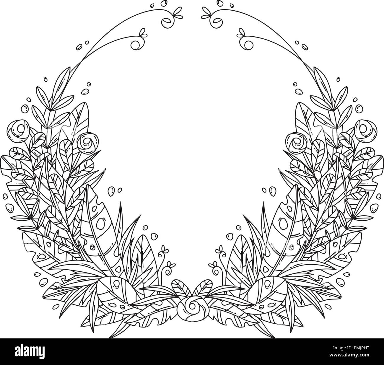 Floral Wreath Coloring Page Stock Photos Floral Wreath Coloring