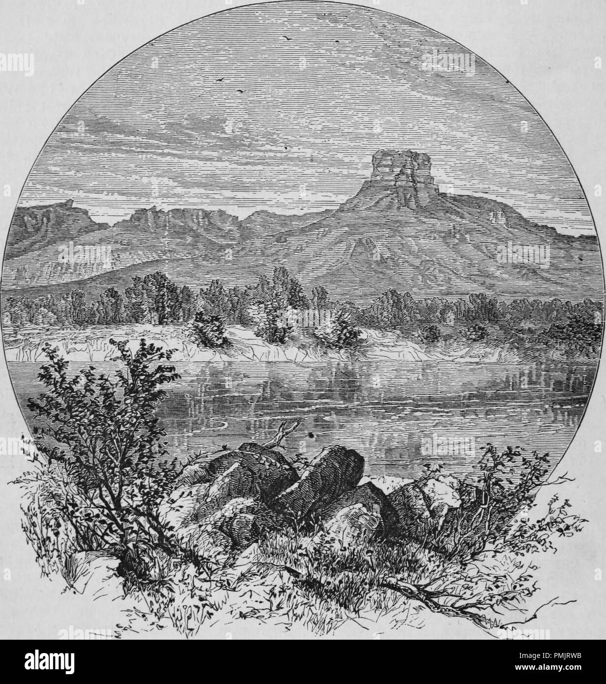 Engraving of the Green River flowing below the Castle Rock in Wyoming, from the book 'The Pacific tourist', 1877. Courtesy Internet Archive. () - Stock Image
