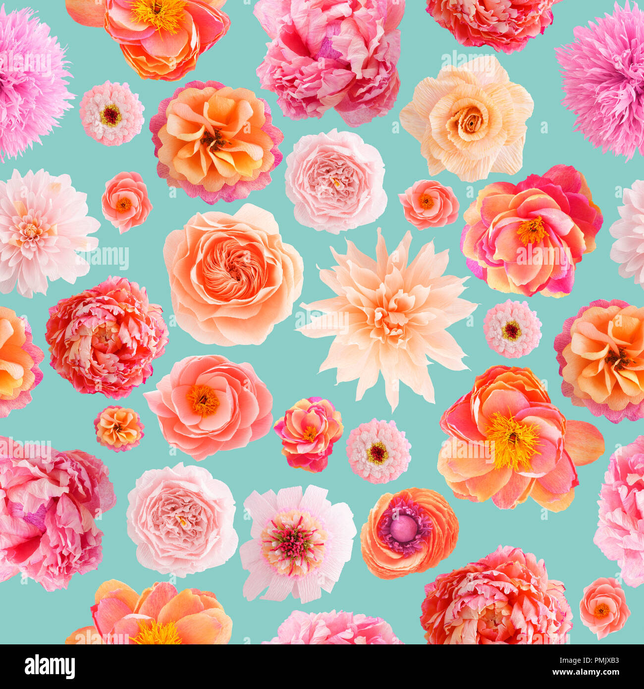Crepe paper flowers stock photos crepe paper flowers stock images seamless pattern with handmade crepe paper flowers on turquoise colored background stock image mightylinksfo