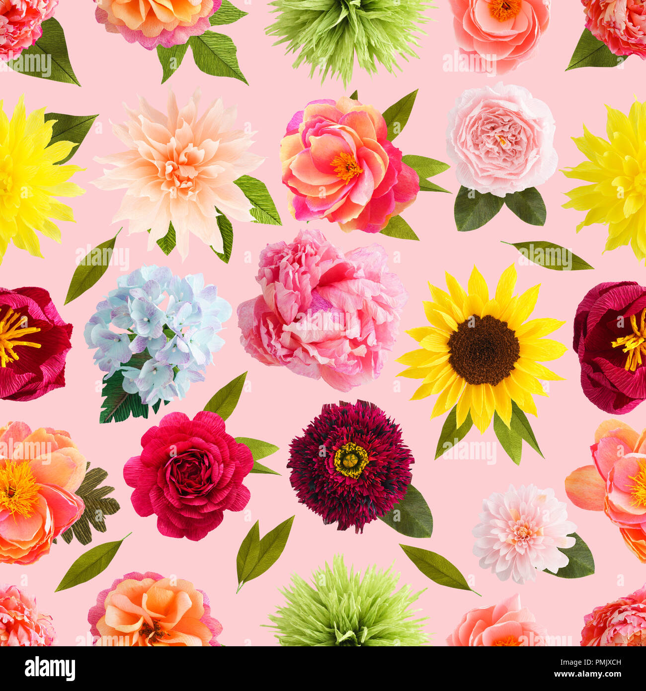 Seamless Pattern With Handmade Crepe Paper Flowers On Pink Colored