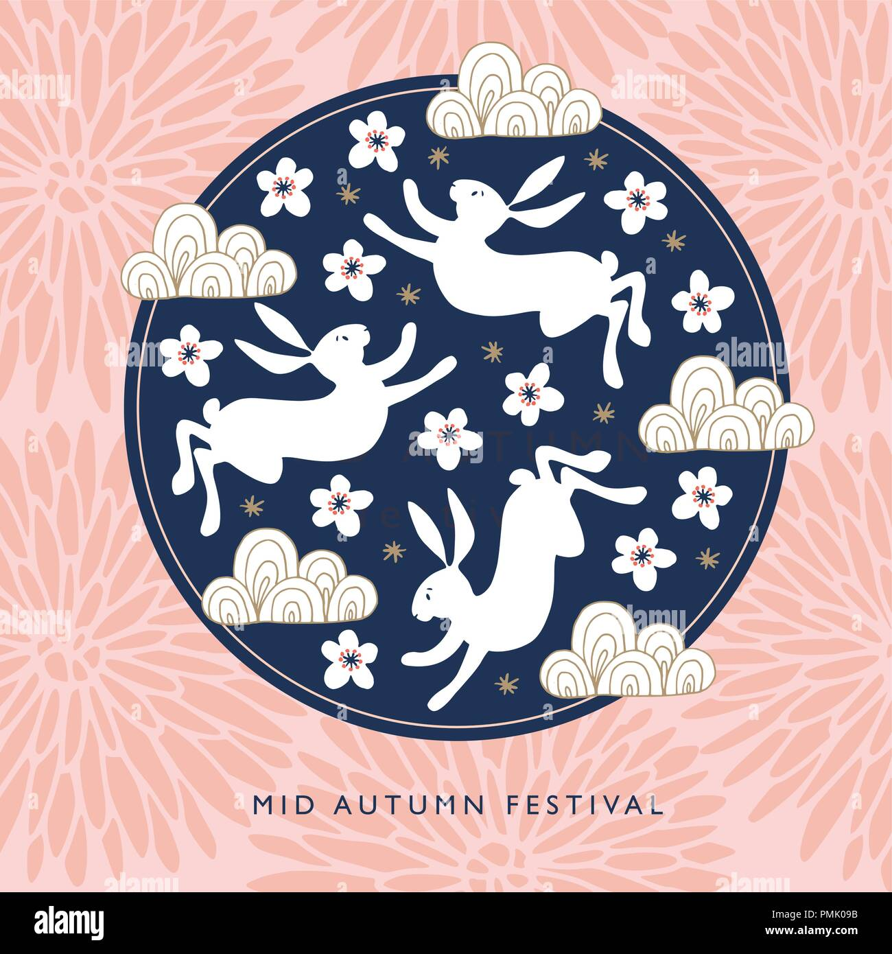 Mid autumn festival greeting card invitation with jade rabbits mid autumn festival greeting card invitation with jade rabbits moon silhouette pink chrysanthemum flowers cherry blossoms and chinese clouds m4hsunfo