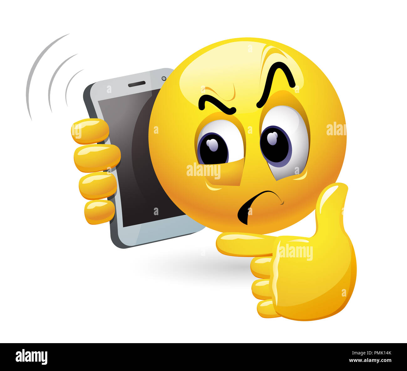 Smiley talking on a phone. Vector illustration of a smiley being distrustful while having phone conversation. - Stock Image