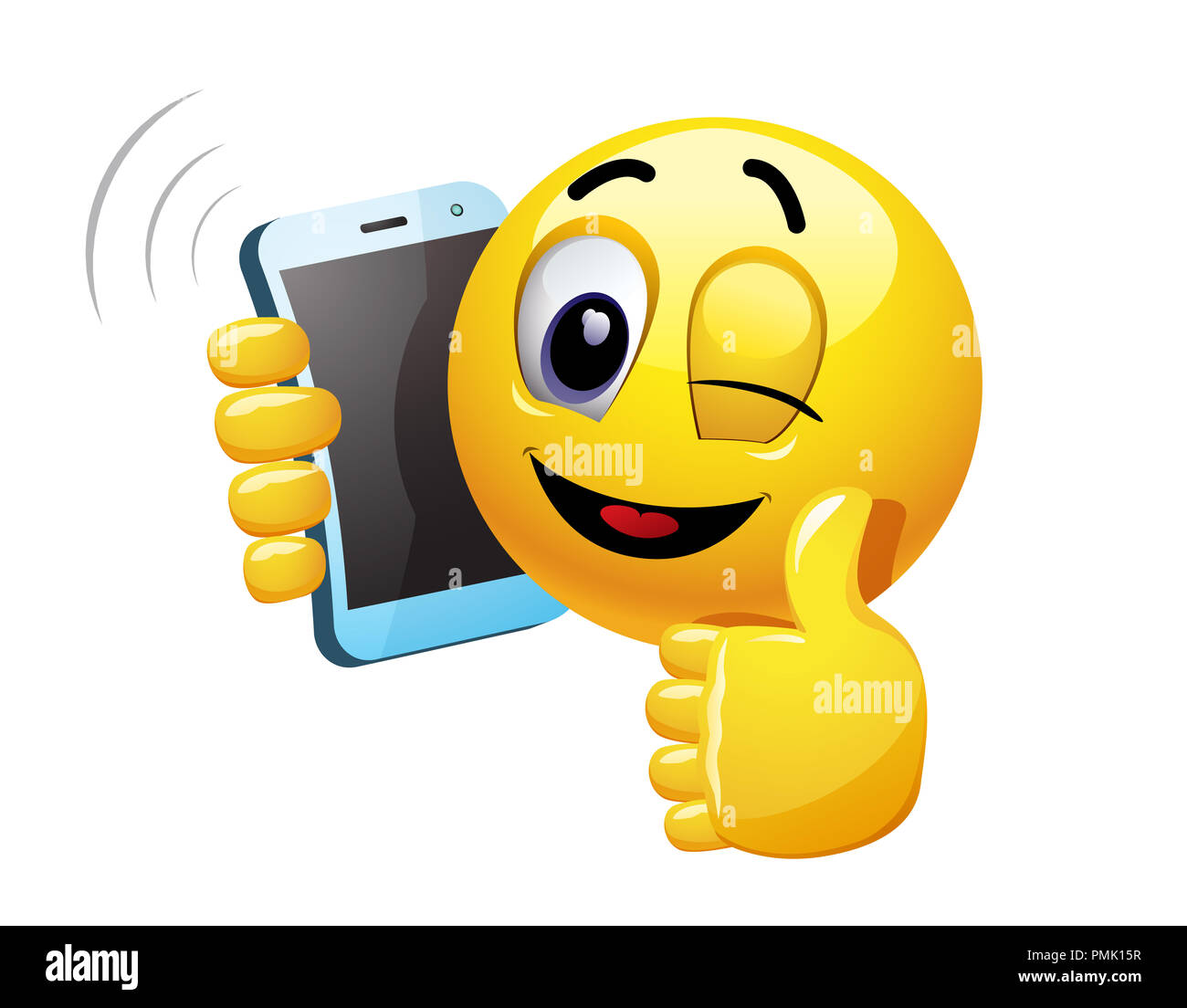 Winking smiley talking on a phone  Vector illustration of a