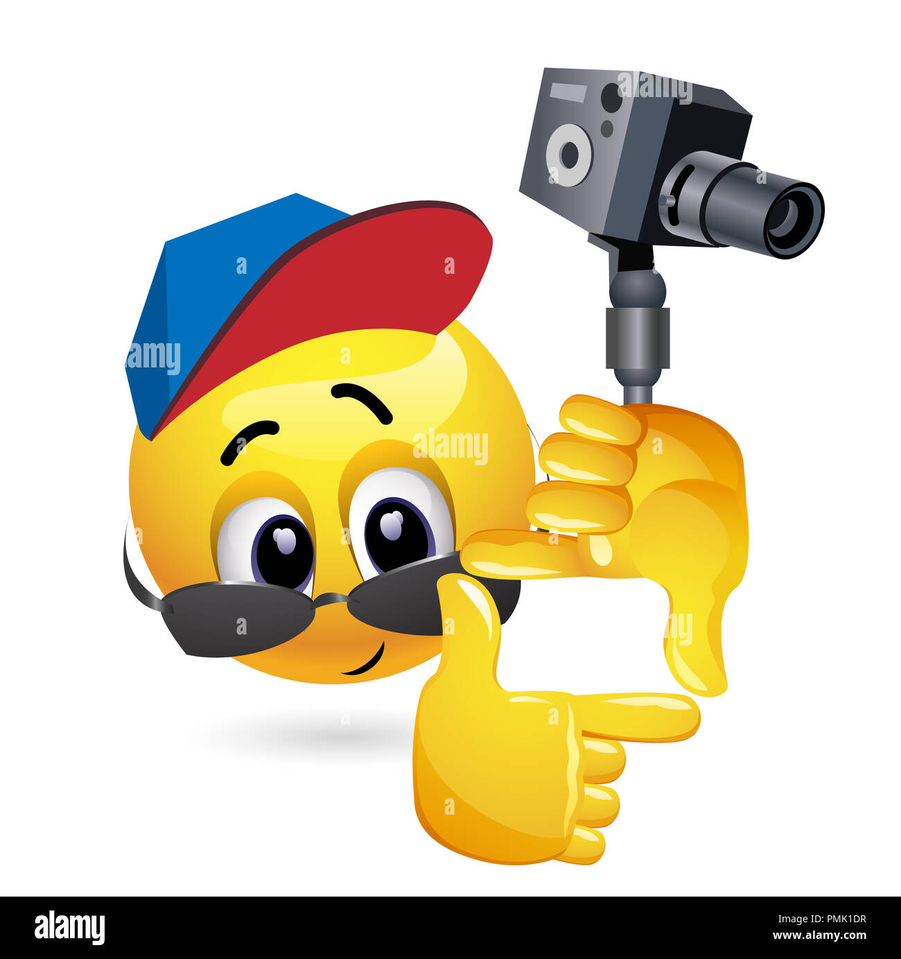 Smiley emoticon like film director. Smiley is shooting the frame for his new film. - Stock Image