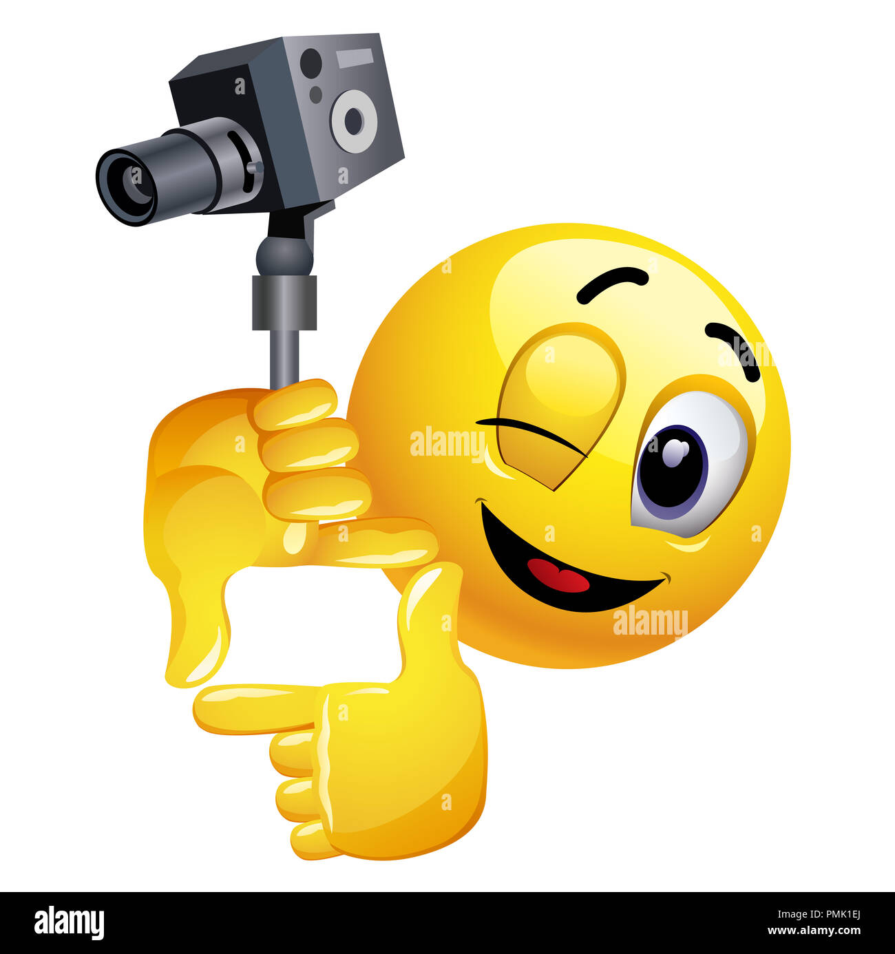 Smiley emoticon like film director. Smiley is shooting the frame for his new movie. - Stock Image